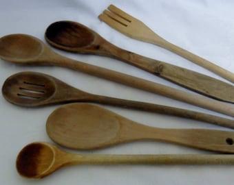 Vintage Wood Kitchen Utensils set 6 | Primitive Cook Spoons | Kitchen Decor | Kitchenalia | 1970s Kitchen