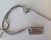 Christian Dior Vintage Silver Metal Logo Dog Tag on Rhinestone Chain