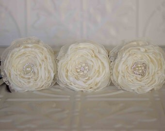 Flower girl wand, set of 3 flower wands, Ivory satin and black lace ribbons