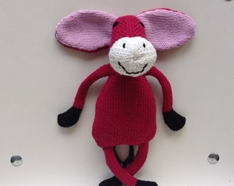 Doudou ass pink fuchsia, pink ears and muzzle-off-white