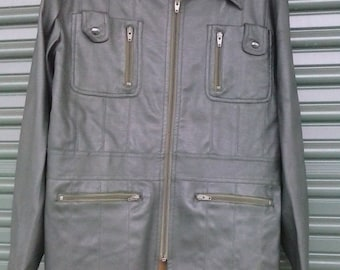70/80's pleather jacket Younbloods Made in Korea-L-
