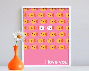Wall decor, Wall Print, Home Decor, Poster, Love Decor, I love you