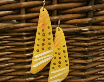 Handpainted earrings, wooden earrings, dangle earrings, handmade earrings