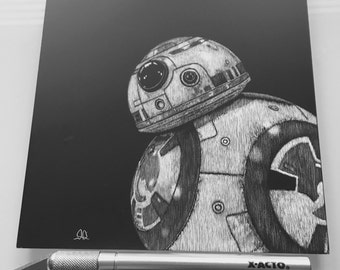 BB-8 scratchboard artwork 6x6