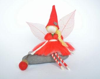 Christmas Fairy - Wool Felt Fairy doll- OOAK