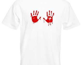 Mens T-Shirt with Red Bloody Hands Design / Blood Vampire Hand Shirts / Funny Walking Dead Shirt + Free Random Decal Gift