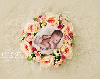 Instant Download newborn backdrop! Beautiful newborn wreath!