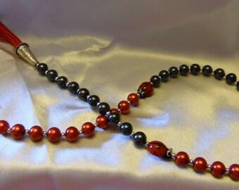 Ladybug-themed Paternoster/prayer/meditation beads **FREE SHIPPING
