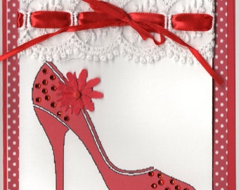 Red Heels and Polka dots.....5x7 handcrafted Blank card
