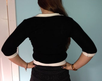 90s Schoolgirl Knit Black Top small