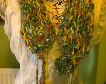 Hand knitted green forest scarf with leaves multi yarn