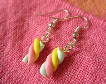 Marshmallow earrings charm handmade polymer clay