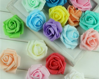 10 or 100 pcs Foam roses pink red green blue yellow ivory purple orange white artificial flowers Flower Head Bud Wedding Party Decorations