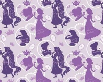 Disney Princess Silhouettes Purple cotton fabric, Camelot Fabrics
