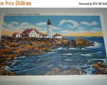 Portland Headlight, Portland Maine Unused Vintage Linen View Postcard