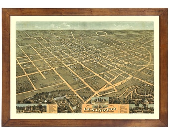 Lexington, KY 1871 Bird's Eye View; 24x36 Print from a Vintage Lithograph