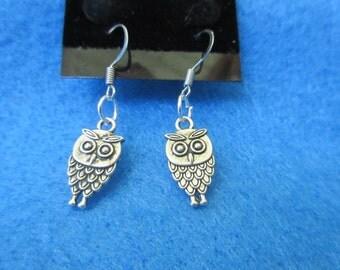Pair of Silver Dangle Owl Earrings