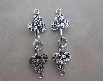 2 sterling silver hook and eye clasps with swirl