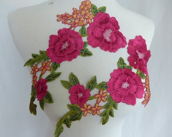 Hot pink Venice Flower, Large Flower Lace Applique, Bridal Wedding Dress Costume Sewing Appliques Supply
