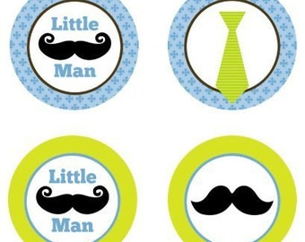 Little Man Mustache Edible Cupcake Topper Decorations - Set of 12 Toppers