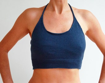 Blue Cotton Knitted Tie-Down Halter Top
