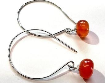 Sterling silver orange carnelian earrings. women's earrings, gemstone jewelry,boho jewelry,boho earrings, bohemian jewellery,large hoop