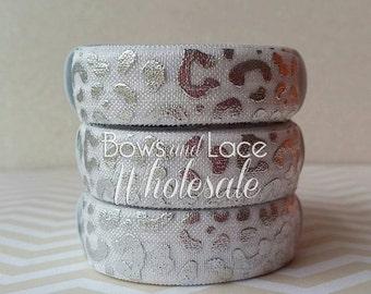 "2, 3, 4, 5 or 10 yards 5/8"" Silver Foil Leopard, Fold over elastic, FOE. Headbands, Hair ties, DIY, Crafts, Hair accessories"