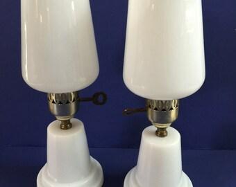 "Dresser Lamps White Vintage RARE 13"" tall Pair Retro"