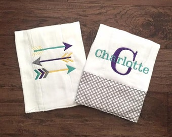 Burp Cloth. Baby Burp Cloths. Cloth diaper Burp/ grey and white polka. set of two - Baby Shower- Baby Gift. Tribal Arrows/Arrows Personalize