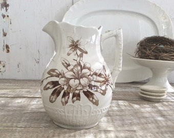 Antique English ironstone brown transferware pitcher A.F. & Co.