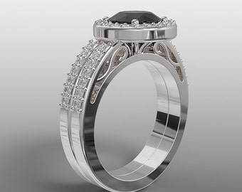 14k white gold halo engagement ring and wedding band set for her, 7mm round black onyx and natural white diamonds, AKR-489 halo