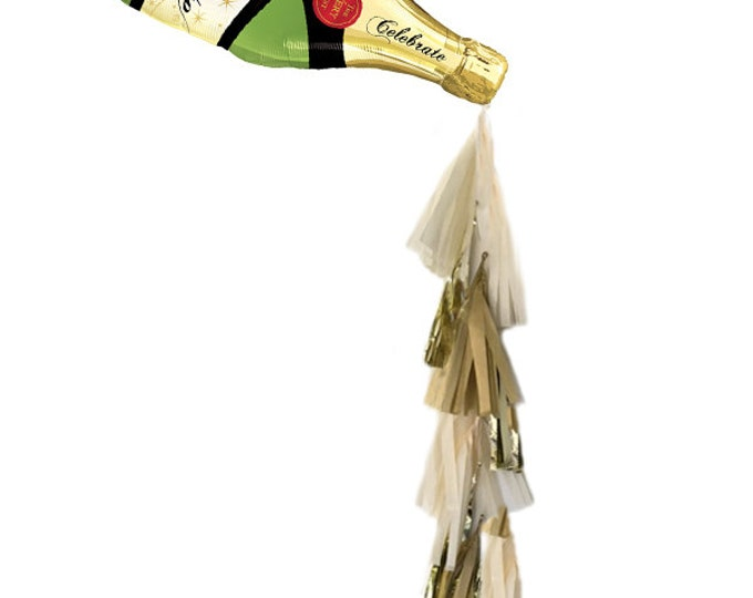 21st Birthday decorations, Champagne Bottle Tassel Balloon, Wedding Toast,  Champagne Backdrop, Pop Clink Fizz, New Years Eve Decor