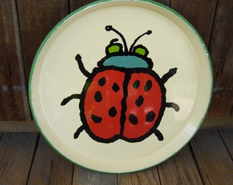 Red Lady Bug Tray, Round Tray, Melamine,Serving Tray, Insect