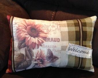 Pillow, Small Pillow, Throw Pillow, Gift Pillow, Sunflower Pillow, Mothers Day Gift, New Home Gift, Welcome Pillow, Mothers Day, Friend Gift