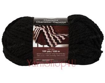 BLACK Bulky Charisma Loops and Threads Yarn. Solid Black Chunky Yarn. Soft Acrylic Great for Hat, Scarf, Afghan, Loom. Yarn 3.5oz 109yds