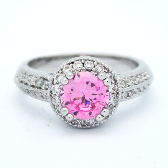 Pink Halo Engagement Ring Cz Ring Halo Ring Cz Wedding
