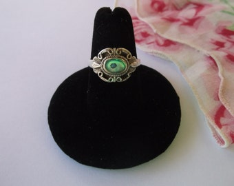 Vintage Sterling Silver Abalone Ladies Ring Size 7.5, Ornate Design with Raised Bezel, Gorgeous Vintage Sterling Ring