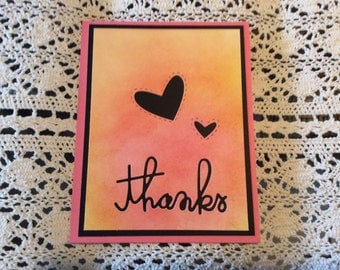 Handmade Greeting Card:  Thank you card. Hand sponged in pinks and yellow