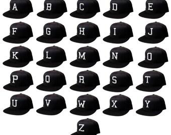 New 3D Flat Bill Snapback Black Cap Hip Hop Heart  Baseball Cap Hat Letters Alphabet A-Z