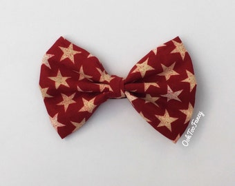 Fourth of July Hair Bow, 4th of july Hair bow, Fabric Hair Bow, Stars Hair bow, Red Hair Bow, Red and White Hair Bow