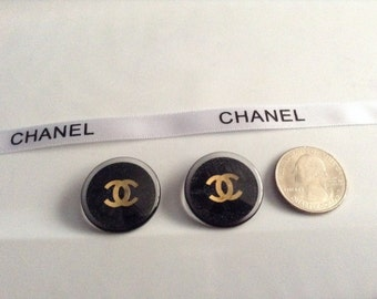 2 Chanel 25mm Replacement Black Buttons with Gold CC