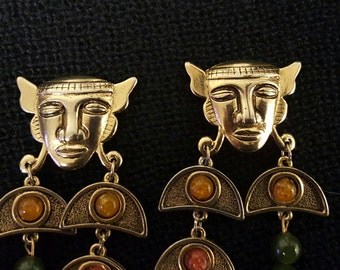 Tribal Ethnic Face Gold Tone Dangle Chandlier Clip On Earrings With Red, Amber and Green Stones