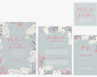 Wedding Invitation Stationary Set Template | Editable | Printable| Instant Download  | DYI | Floral Pink blue and cream