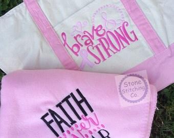 cancer awareness bag & blanket, chemo bag, chemo blanket