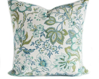 Blue pillow cover, Green pillow, Throw pillow, Sofa cushion, Toss pillow, Floral pillow, Sham, 16x16, 18x18, 20x20, 22x22, 24x24, 26x26
