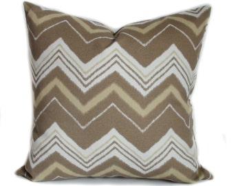 Outdoor pillow, 18x18, Outdoor pillow cover, Brown outdoor pillow, Outdoor throw pillow, Chevron pillow, Outdoor cushion, Porch pillow