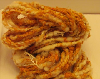 "Handspun Bulky Art Yarn ""Butterscotch"" 30 Yds - 90% Soff Silk - Corespun - Tan - White - Golden"