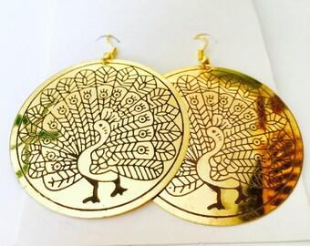 Women brass handmade hand carved boho bohemian ethnic artisan brass peacock design hook dangle earrings.