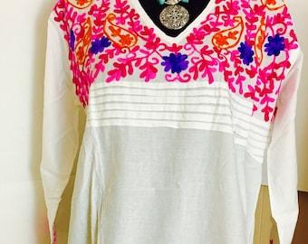 Women 100% cotton white hand embroidered Kurti kurta tunic dress top sz XL