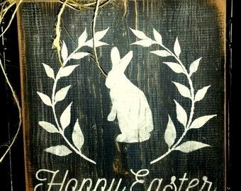 Hoppy Easter: Easter Bunny wooden sign